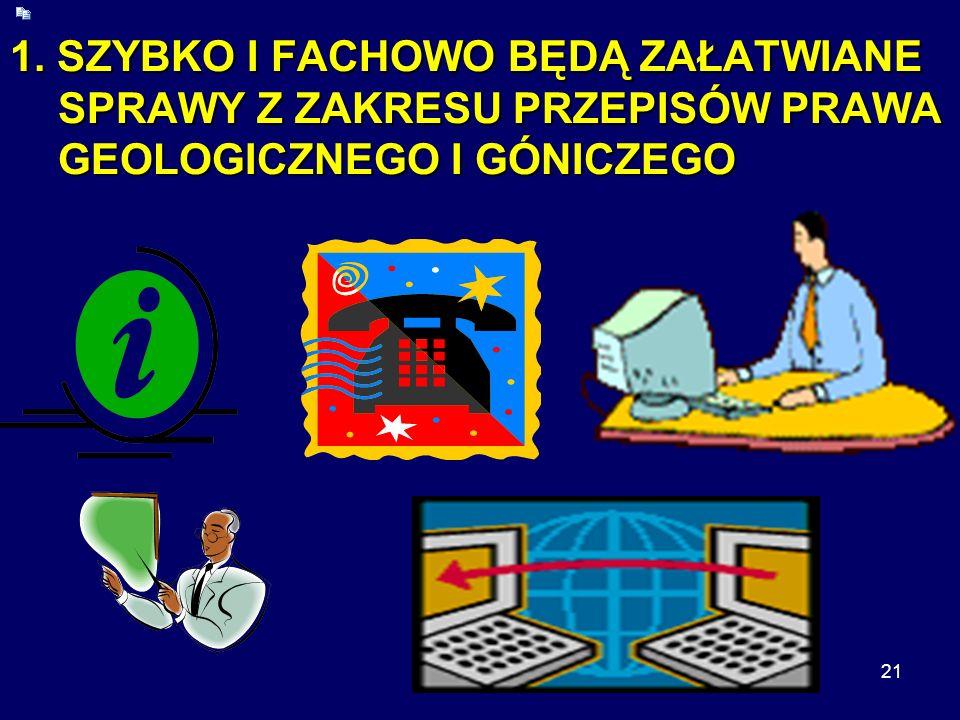 21 1. SZYBKO I FACHOWO BĘDĄ ZAŁATWIANE SPRAWY Z ZAKRESU PRZEPISÓW PRAWA GEOLOGICZNEGO I GÓNICZEGO