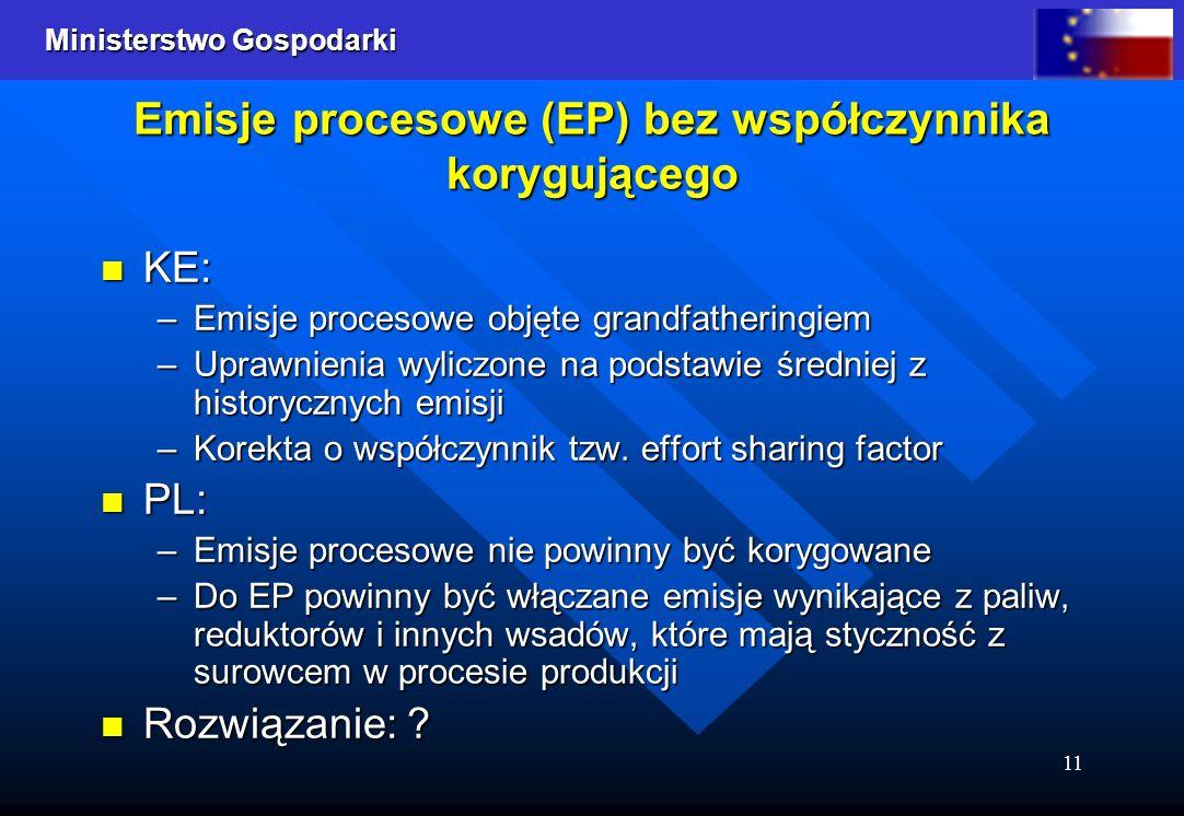 Ministerstwo Gospodarki 11 Emisje procesowe (EP) bez współczynnika korygującego KE: KE: –Emisje procesowe objęte grandfatheringiem –Uprawnienia wylicz