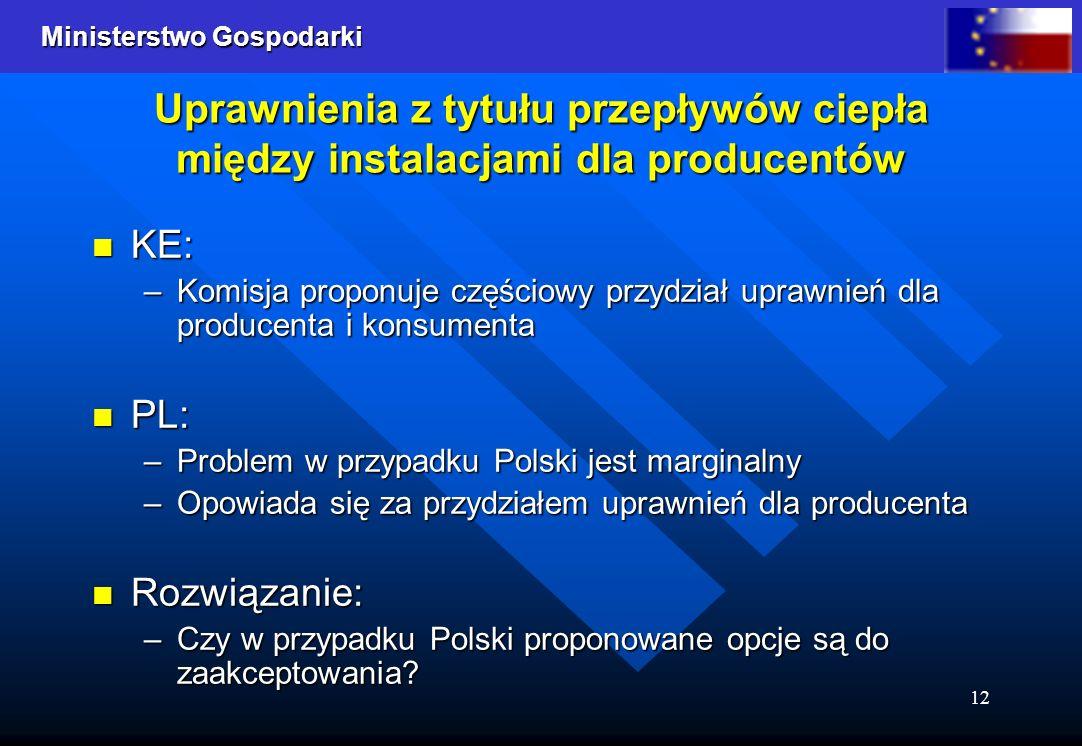 Ministerstwo Gospodarki 12 Uprawnienia z tytułu przepływów ciepła między instalacjami dla producentów KE: KE: –Komisja proponuje częściowy przydział u