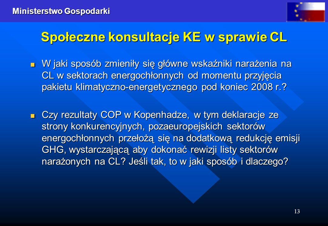 Ministerstwo Gospodarki 13 Społeczne konsultacje KE w sprawie CL W jaki sposób zmieniły się główne wskaźniki narażenia na CL w sektorach energochłonny