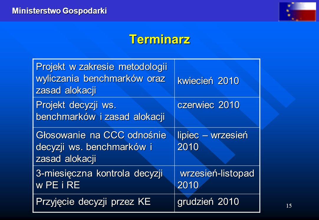 Ministerstwo Gospodarki 15 Terminarz Projekt w zakresie metodologii wyliczania benchmarków oraz zasad alokacji kwiecień 2010 Projekt decyzji ws. bench