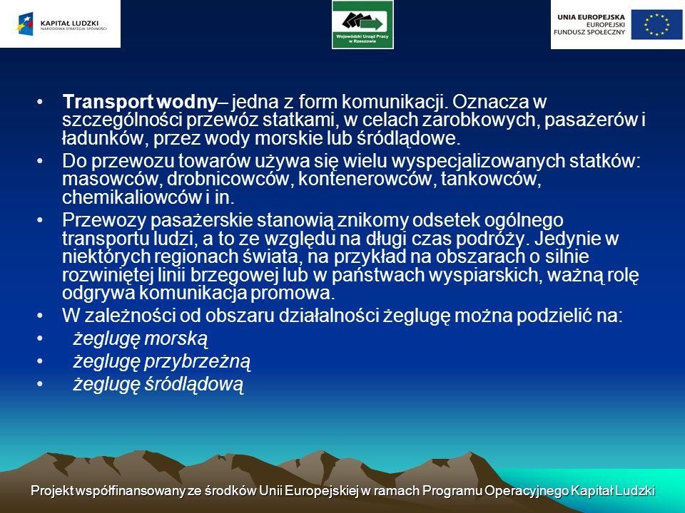 Projekt współfinansowany ze środków Unii Europejskiej w ramach Programu Operacyjnego Kapitał Ludzki Transport wodny– jedna z form komunikacji. Oznacza