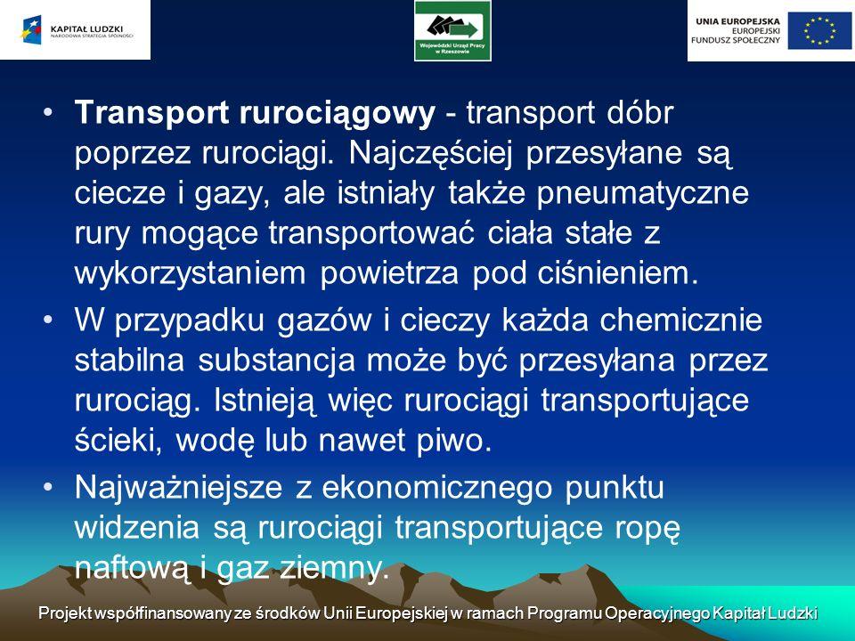 Projekt współfinansowany ze środków Unii Europejskiej w ramach Programu Operacyjnego Kapitał Ludzki Transport rurociągowy - transport dóbr poprzez rur