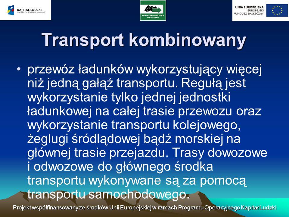 Projekt współfinansowany ze środków Unii Europejskiej w ramach Programu Operacyjnego Kapitał Ludzki Transport kombinowany przewóz ładunków wykorzystuj