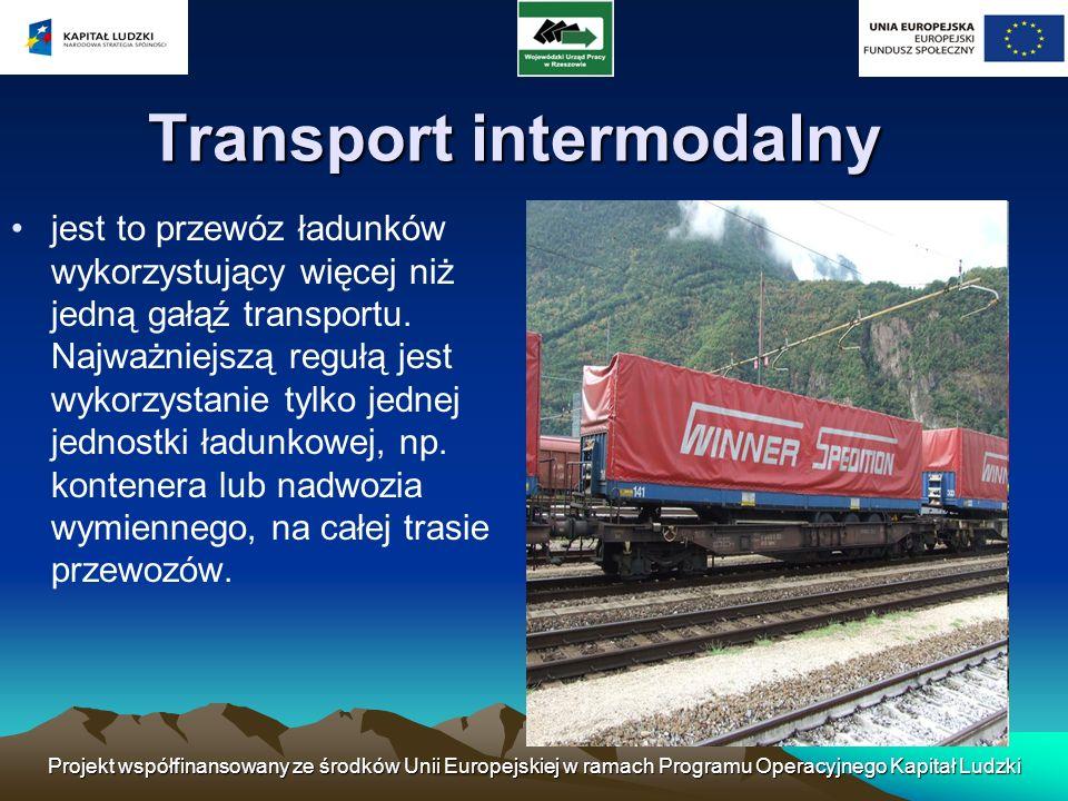 Projekt współfinansowany ze środków Unii Europejskiej w ramach Programu Operacyjnego Kapitał Ludzki Transport intermodalny jest to przewóz ładunków wy