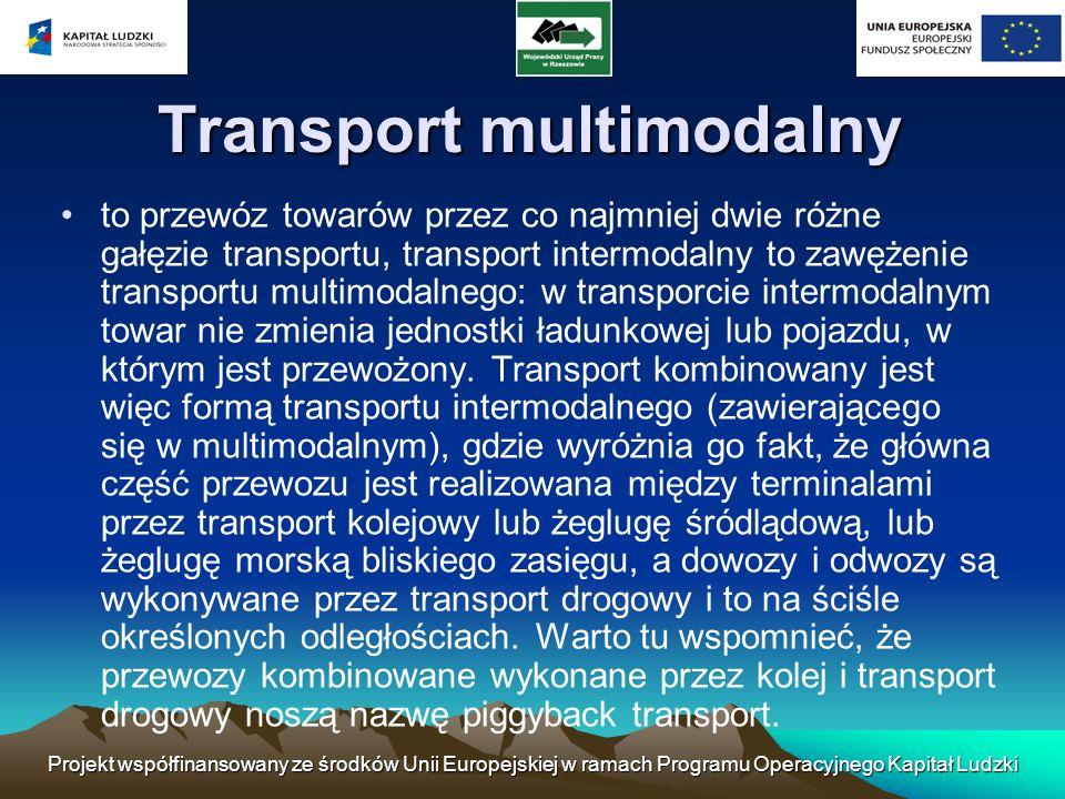 Projekt współfinansowany ze środków Unii Europejskiej w ramach Programu Operacyjnego Kapitał Ludzki Transport multimodalny to przewóz towarów przez co