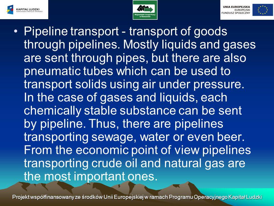 Projekt współfinansowany ze środków Unii Europejskiej w ramach Programu Operacyjnego Kapitał Ludzki Pipeline transport - transport of goods through pi