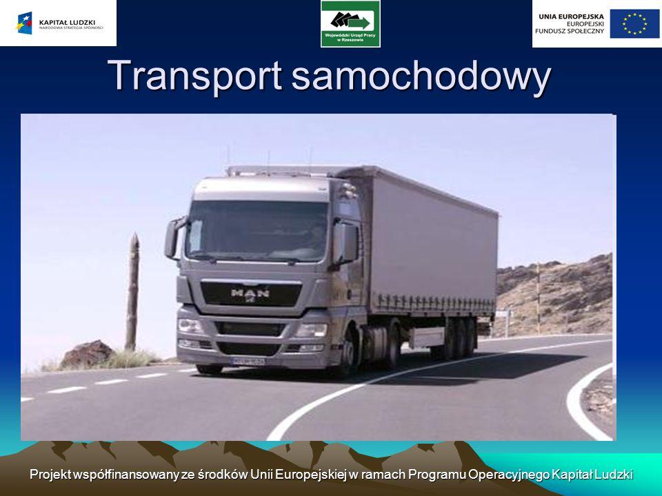Projekt współfinansowany ze środków Unii Europejskiej w ramach Programu Operacyjnego Kapitał Ludzki Transport samochodowy (zwany też drogowym) - jedna z gałęzi transportu, w której ładunki i pasażerowie przemieszczają się po drogach lądowych przy pomocy kołowych środków transportu (np.