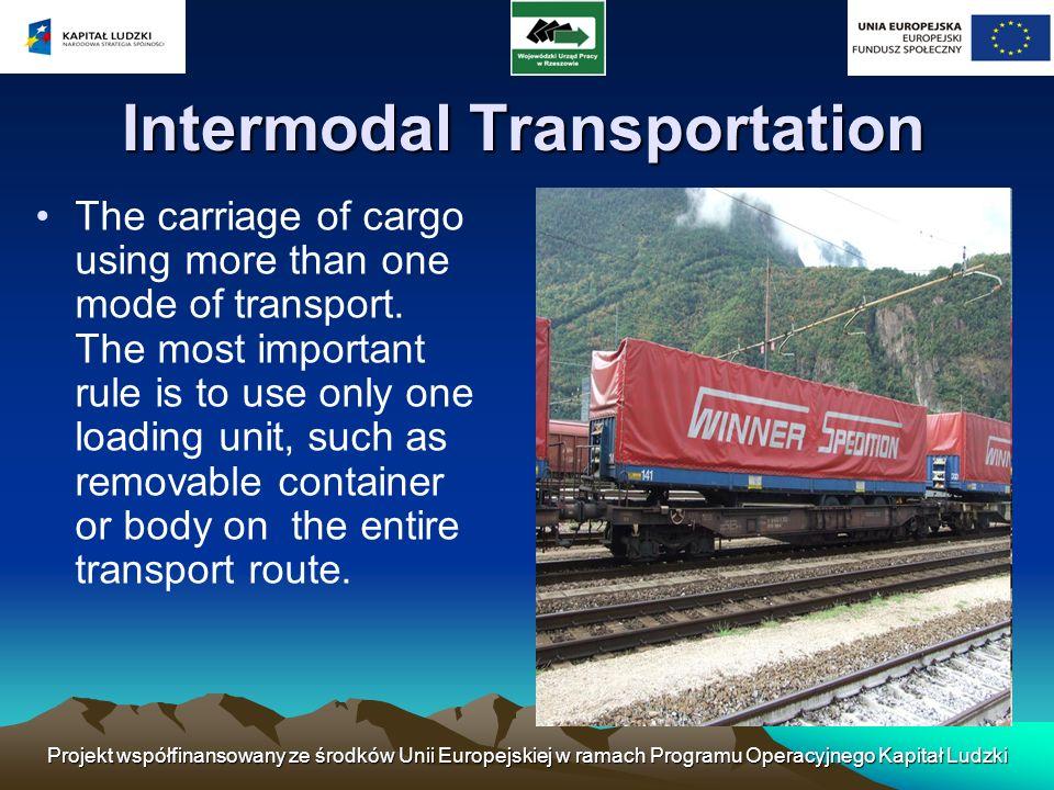 Projekt współfinansowany ze środków Unii Europejskiej w ramach Programu Operacyjnego Kapitał Ludzki Intermodal Transportation The carriage of cargo us