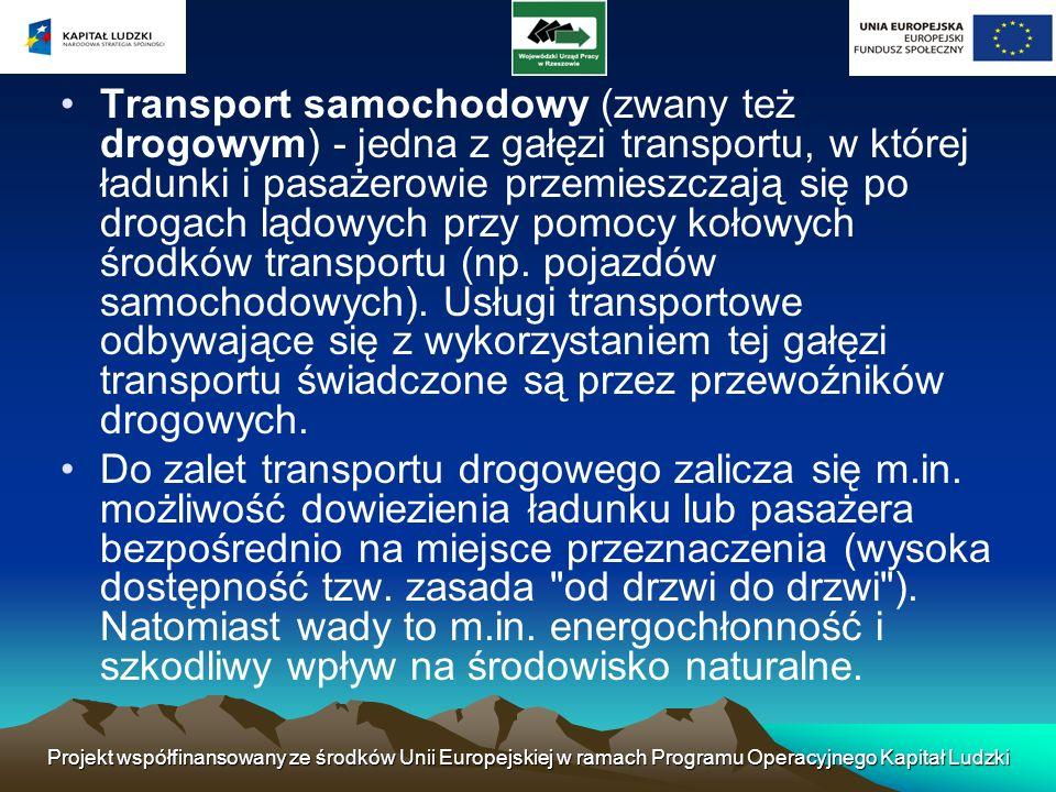Projekt współfinansowany ze środków Unii Europejskiej w ramach Programu Operacyjnego Kapitał Ludzki Transport intermodalny jest to przewóz ładunków wykorzystujący więcej niż jedną gałąź transportu.