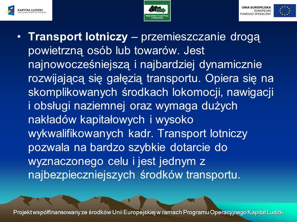 Projekt współfinansowany ze środków Unii Europejskiej w ramach Programu Operacyjnego Kapitał Ludzki Transport lotniczy – przemieszczanie drogą powietr