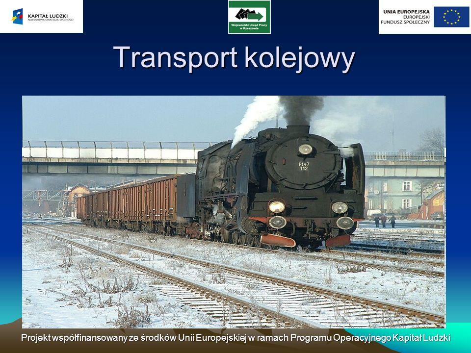 Projekt współfinansowany ze środków Unii Europejskiej w ramach Programu Operacyjnego Kapitał Ludzki Transport kolejowy – gałąź transportu zaliczana do transportu lądowego, a szerzej, do transportu powierzchniowego.