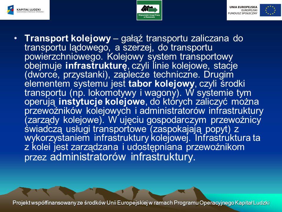 Projekt współfinansowany ze środków Unii Europejskiej w ramach Programu Operacyjnego Kapitał Ludzki Transport kolejowy – gałąź transportu zaliczana do