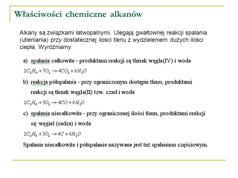 Właściwości chemiczne alkanów Alkany są związkami łatwopalnymi. Ulegają gwałtownej reakcji spalania (utleniania) przy dostatecznej ilości tlenu z wydz