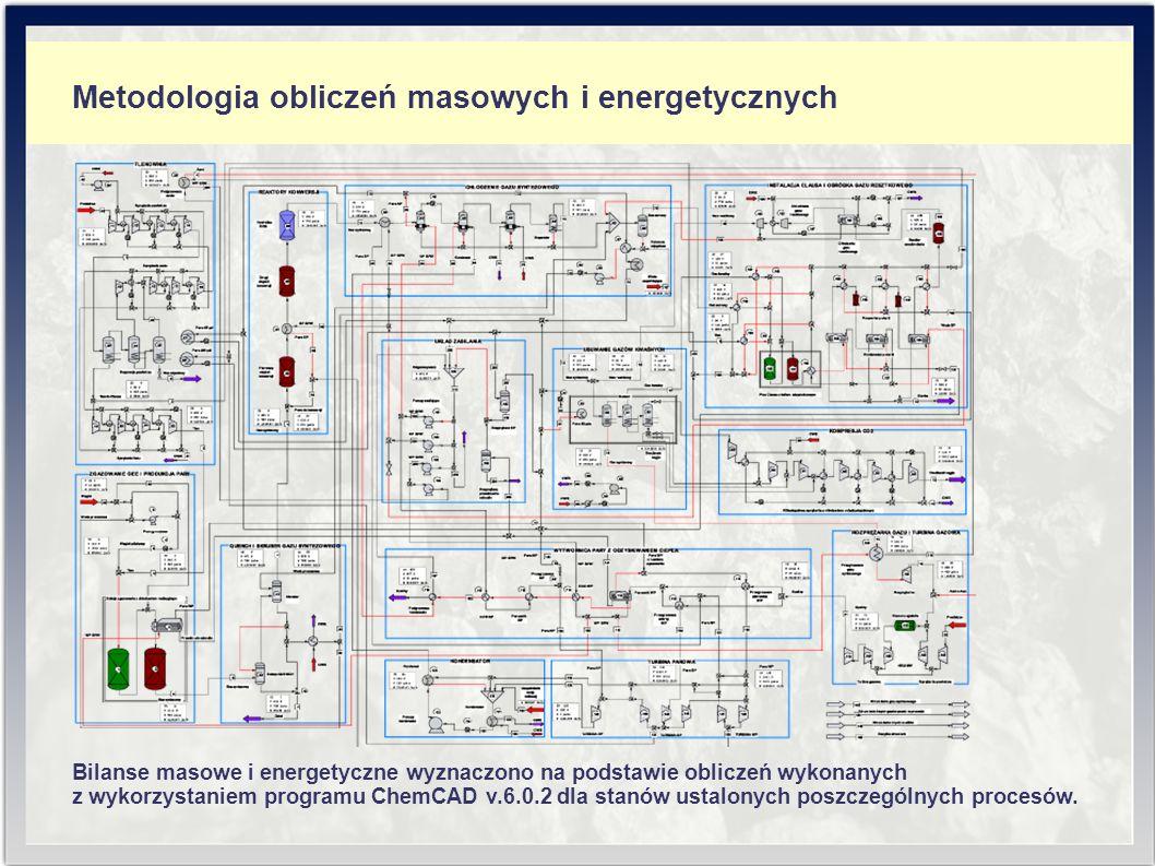 Metodologia obliczeń masowych i energetycznych Bilanse masowe i energetyczne wyznaczono na podstawie obliczeń wykonanych z wykorzystaniem programu ChemCAD v.6.0.2 dla stanów ustalonych poszczególnych procesów.