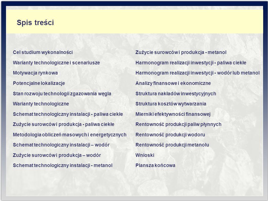 Analiza uwarunkowań: - technicznych, - technologicznych, - energetycznych, - ekonomicznych, - ekologicznych, - lokalizacyjnych i formalno-prawnych; Cel studium wykonalności dla oceny budowy i eksploatacji w warunkach krajowych instalacji do produkcji: - paliw ciekłych - wariant I, - wodoru - wariant II, - metanolu - wariant III, na drodze zgazowania węgla.