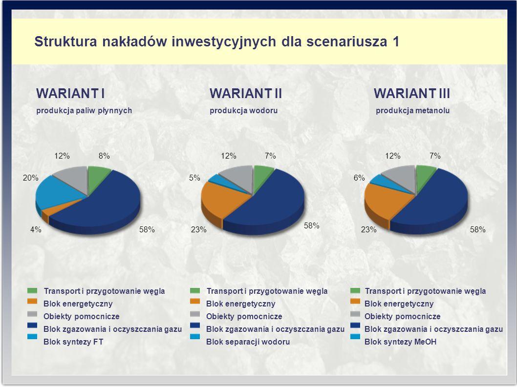 Struktura nakładów inwestycyjnych dla scenariusza 1 WARIANT II produkcja wodoru 12%7% 58% 23% 5% WARIANT III produkcja metanolu 12%7% 58%23% 6% produkcja paliw płynnych WARIANT I 12%8% 58%4% 20% Transport i przygotowanie węgla Blok energetyczny Obiekty pomocnicze Blok zgazowania i oczyszczania gazu Blok syntezy FT Transport i przygotowanie węgla Blok energetyczny Obiekty pomocnicze Blok zgazowania i oczyszczania gazu Blok separacji wodoru Transport i przygotowanie węgla Blok energetyczny Obiekty pomocnicze Blok zgazowania i oczyszczania gazu Blok syntezy MeOH