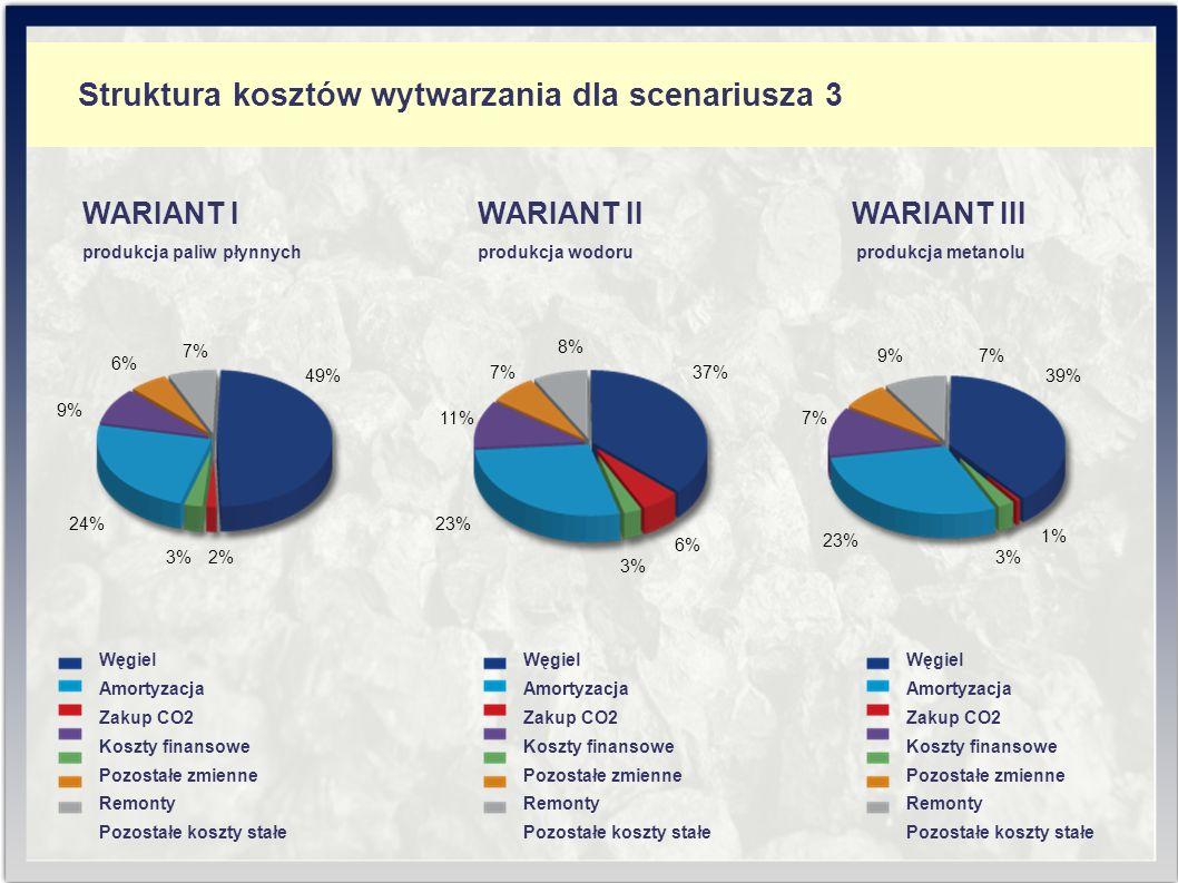 Struktura kosztów wytwarzania dla scenariusza 3 7% 8% 37% 23% 11% 6% 3% WARIANT II produkcja wodoru Węgiel Amortyzacja Zakup CO2 Koszty finansowe Pozostałe zmienne Remonty Pozostałe koszty stałe Węgiel Amortyzacja Zakup CO2 Koszty finansowe Pozostałe zmienne Remonty Pozostałe koszty stałe Węgiel Amortyzacja Zakup CO2 Koszty finansowe Pozostałe zmienne Remonty Pozostałe koszty stałe 3%2% 6% 7% 49% 24% 9% WARIANT I produkcja paliw płynnych 9%7% 1% 23% 7% 39% 3% WARIANT III produkcja metanolu