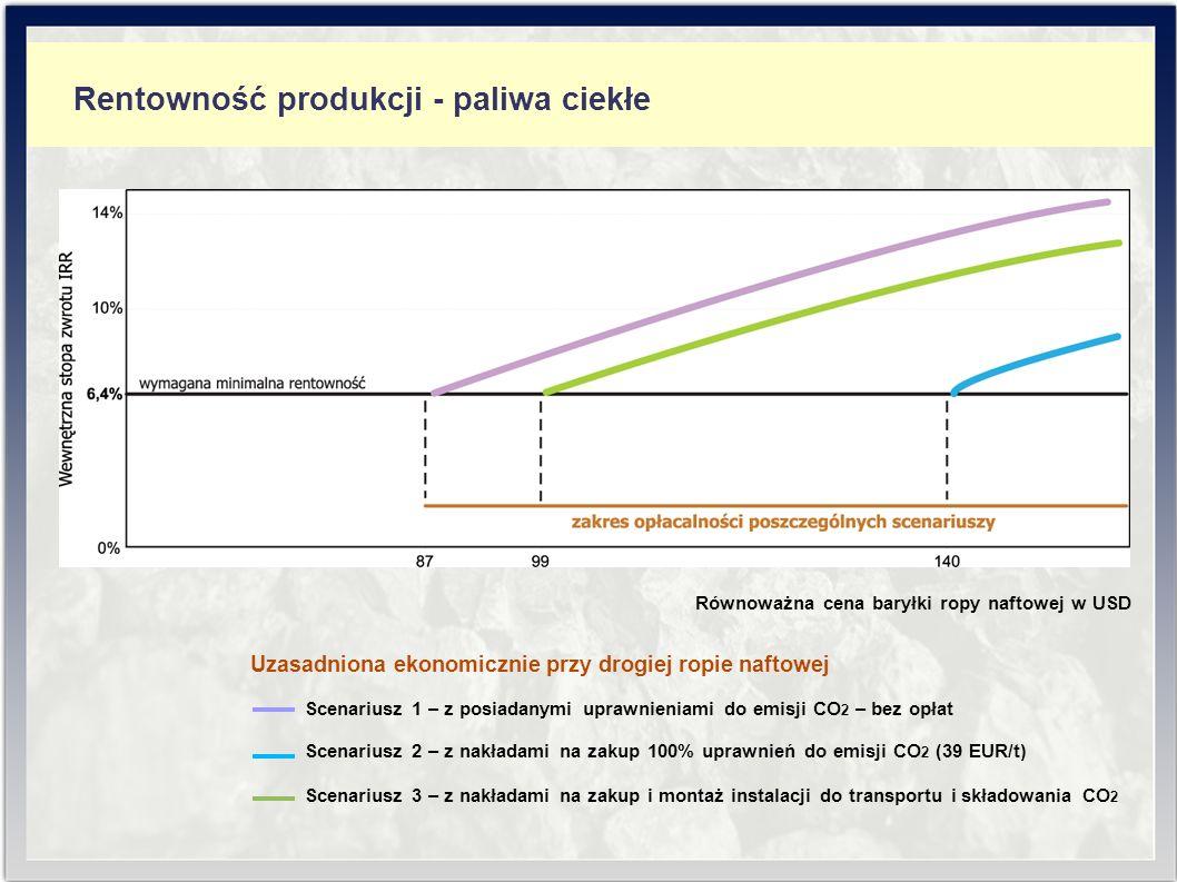 Rentowność produkcji - paliwa ciekłe Uzasadniona ekonomicznie przy drogiej ropie naftowej Scenariusz 1 – z posiadanymi uprawnieniami do emisji CO 2 – bez opłat Scenariusz 2 – z nakładami na zakup 100% uprawnień do emisji CO 2 (39 EUR/t) Scenariusz 3 – z nakładami na zakup i montaż instalacji do transportu i składowania CO 2 Równoważna cena baryłki ropy naftowej w USD