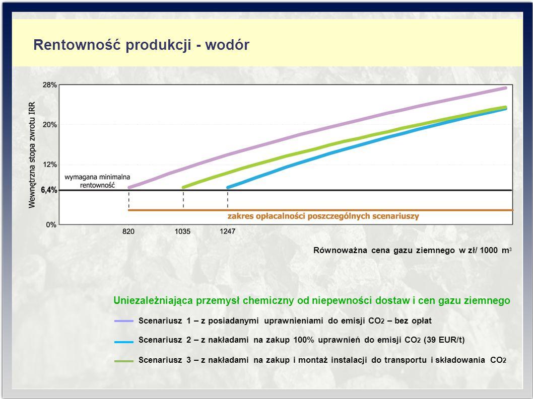 Zużycie surowców i produkcja - paliwa ciekłeRentowność produkcji - wodór Równoważna cena gazu ziemnego w zł/ 1000 m 3 Uniezależniająca przemysł chemiczny od niepewności dostaw i cen gazu ziemnego Scenariusz 1 – z posiadanymi uprawnieniami do emisji CO 2 – bez opłat Scenariusz 2 – z nakładami na zakup 100% uprawnień do emisji CO 2 (39 EUR/t) Scenariusz 3 – z nakładami na zakup i montaż instalacji do transportu i składowania CO 2