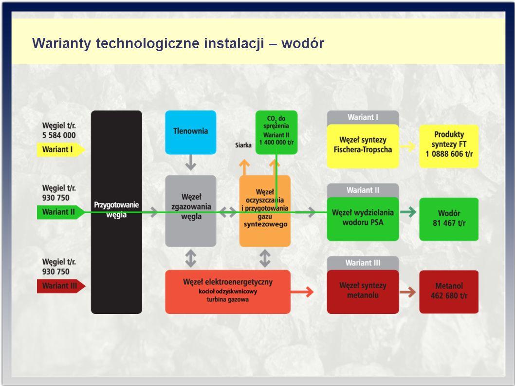 Warianty technologiczne instalacji – wodór
