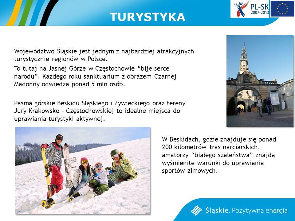TURYSTYKA Województwo Śląskie jest jednym z najbardziej atrakcyjnych turystycznie regionów w Polsce. To tutaj na Jasnej Górze w Częstochowie bije serc