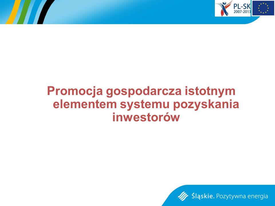 DZIAŁANIA PROMOCYJNE W 2011 i 2012 ROKU PROMOCJA GOSPODARCZA WOJEWÓDZTWA PROWADZONA JEST POPRZEZ DZIAŁANIA ŚLĄSKIEGO CENTRUM OBSŁUGI INWESTORA I EKSPORTERA – CERTYFIKOWANEGO PARTNER POLSKIEJ AGENCJI INFORMACJI I INWESTYCJI ZAGRANICZNYCH udział w targach o charakterze inwestycyjnym MIPIM CANNES – marzec 2011, REAL VIENNA – maj 2011, REAL EXPO Monachium – październik 2011; dystrybucja materiałów informacyjnych; planowana na II poł.