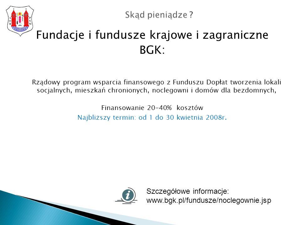 Fundacje i fundusze krajowe i zagraniczne BGK: Rządowy program wsparcia finansowego z Funduszu Dopłat tworzenia lokali socjalnych, mieszkań chronionych, noclegowni i domów dla bezdomnych, Finansowanie 20-40% kosztów Najbliższy termin: od 1 do 30 kwietnia 2008r.