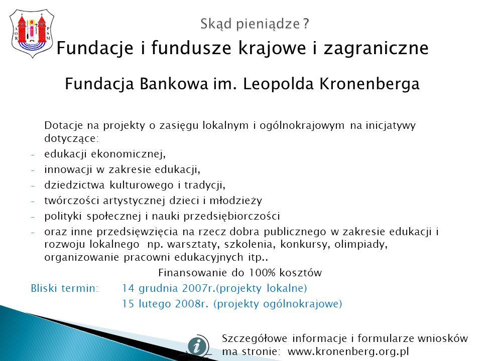 Fundacje i fundusze krajowe i zagraniczne Fundacja Bankowa im.