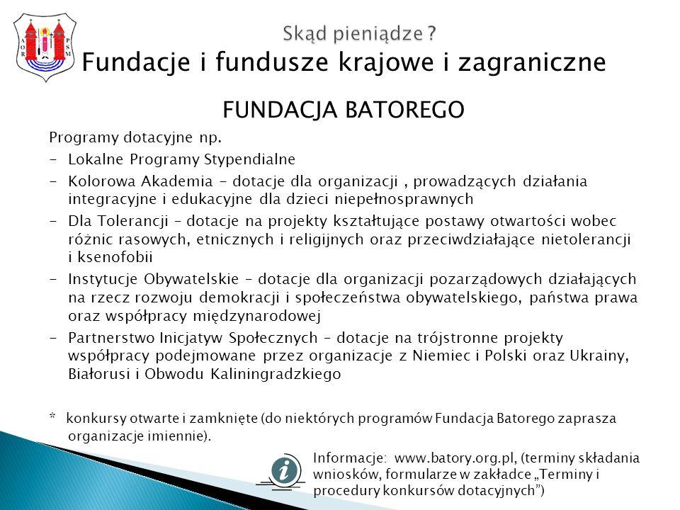 Fundacje i fundusze krajowe i zagraniczne FUNDACJA BATOREGO Programy dotacyjne np.