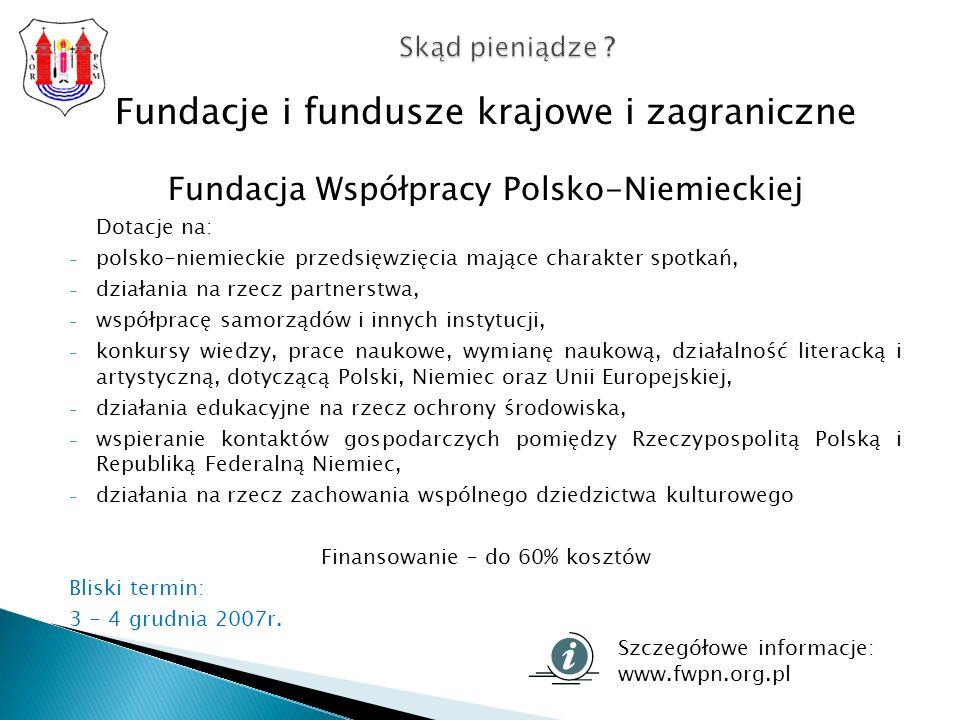 Fundacje i fundusze krajowe i zagraniczne Fundacja Współpracy Polsko-Niemieckiej Dotacje na: - polsko-niemieckie przedsięwzięcia mające charakter spotkań, - działania na rzecz partnerstwa, - współpracę samorządów i innych instytucji, - konkursy wiedzy, prace naukowe, wymianę naukową, działalność literacką i artystyczną, dotyczącą Polski, Niemiec oraz Unii Europejskiej, - działania edukacyjne na rzecz ochrony środowiska, - wspieranie kontaktów gospodarczych pomiędzy Rzeczypospolitą Polską i Republiką Federalną Niemiec, - działania na rzecz zachowania wspólnego dziedzictwa kulturowego Finansowanie – do 60% kosztów Bliski termin: 3 - 4 grudnia 2007r.