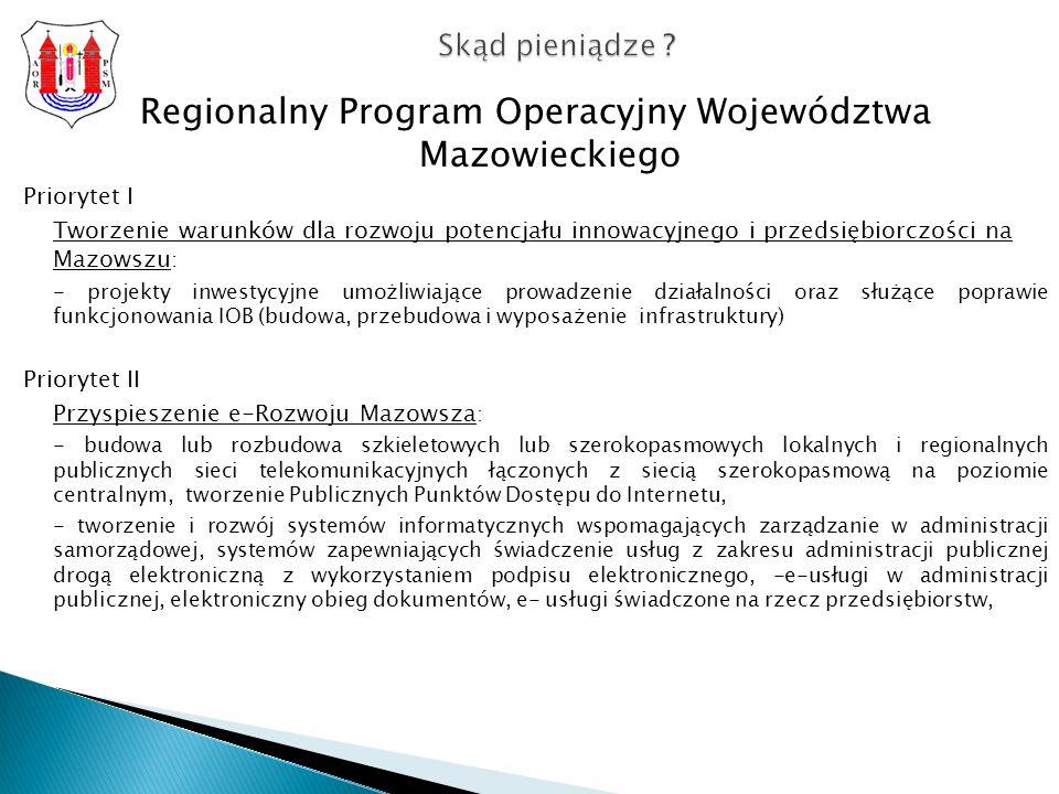 Regionalny Program Operacyjny Województwa Mazowieckiego Priorytet I Tworzenie warunków dla rozwoju potencjału innowacyjnego i przedsiębiorczości na Mazowszu : - projekty inwestycyjne umożliwiające prowadzenie działalności oraz służące poprawie funkcjonowania IOB (budowa, przebudowa i wyposażenie infrastruktury) Priorytet II Przyspieszenie e-Rozwoju Mazowsza : - budowa lub rozbudowa szkieletowych lub szerokopasmowych lokalnych i regionalnych publicznych sieci telekomunikacyjnych łączonych z siecią szerokopasmową na poziomie centralnym, tworzenie Publicznych Punktów Dostępu do Internetu, - tworzenie i rozwój systemów informatycznych wspomagających zarządzanie w administracji samorządowej, systemów zapewniających świadczenie usług z zakresu administracji publicznej drogą elektroniczną z wykorzystaniem podpisu elektronicznego, -e-usługi w administracji publicznej, elektroniczny obieg dokumentów, e- usługi świadczone na rzecz przedsiębiorstw, Skąd pieniądze ?