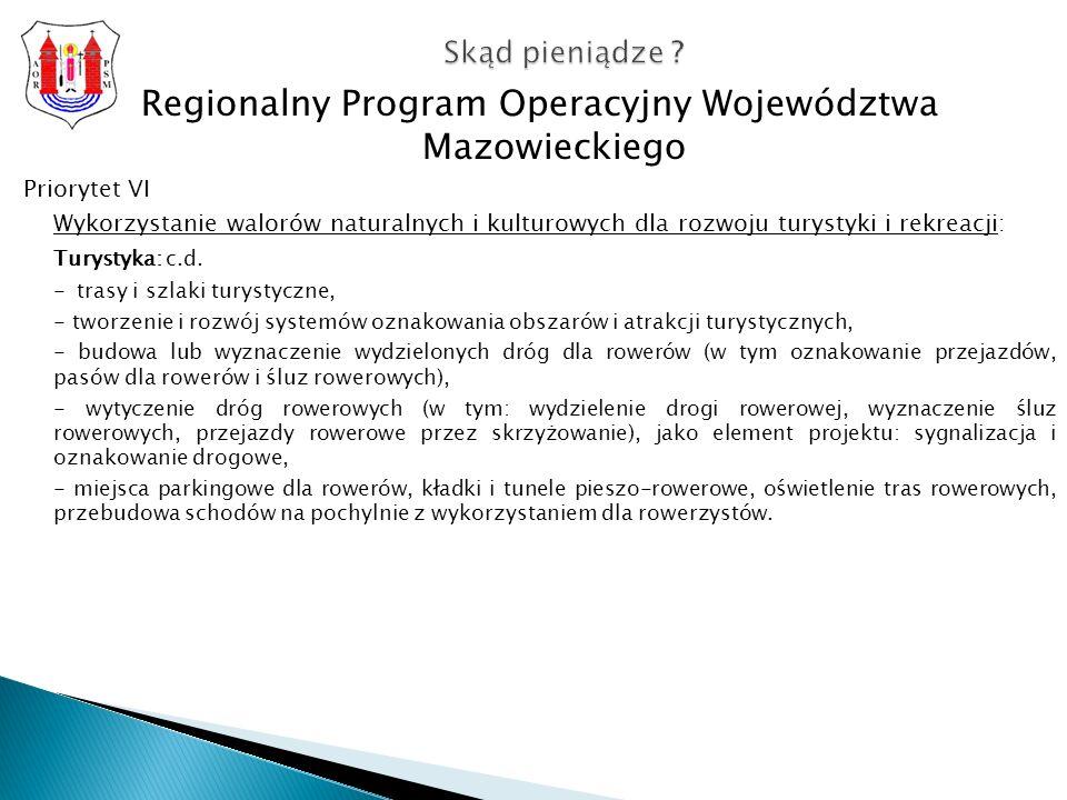 Regionalny Program Operacyjny Województwa Mazowieckiego Priorytet VI Wykorzystanie walorów naturalnych i kulturowych dla rozwoju turystyki i rekreacji: Turystyka: c.d.