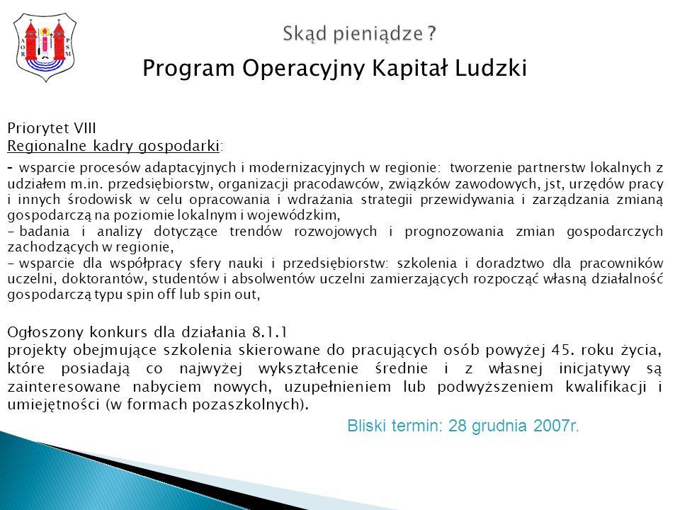 Program Operacyjny Kapitał Ludzki Priorytet VIII Regionalne kadry gospodarki: - wsparcie procesów adaptacyjnych i modernizacyjnych w regionie: tworzenie partnerstw lokalnych z udziałem m.in.