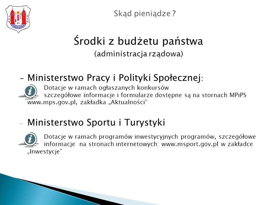 Środki z budżetu państwa (administracja rządowa) - Ministerstwo Pracy i Polityki Społecznej : Dotacje w ramach ogłaszanych konkursów szczegółowe informacje i formularze dostępne są na stornach MPiPS www.mps.gov.pl, zakładka Aktualności - Ministerstwo Sportu i Turystyki Dotacje w ramach programów inwestycyjnych programów, szczegółowe informacje na stronach internetowych: www.msport.gov.pl w zakładce Inwestycje