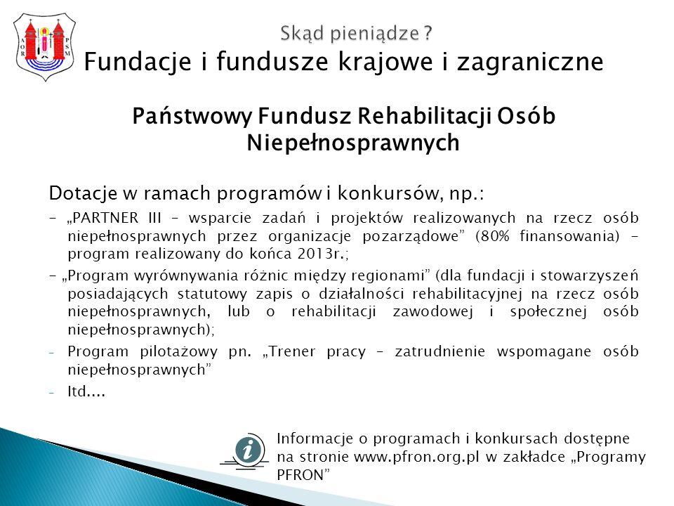 Fundacje i fundusze krajowe i zagraniczne Państwowy Fundusz Rehabilitacji Osób Niepełnosprawnych Dotacje w ramach programów i konkursów, np.: - PARTNER III – wsparcie zadań i projektów realizowanych na rzecz osób niepełnosprawnych przez organizacje pozarządowe (80% finansowania) - program realizowany do końca 2013r.; - Program wyrównywania różnic między regionami (dla fundacji i stowarzyszeń posiadających statutowy zapis o działalności rehabilitacyjnej na rzecz osób niepełnosprawnych, lub o rehabilitacji zawodowej i społecznej osób niepełnosprawnych); - Program pilotażowy pn.