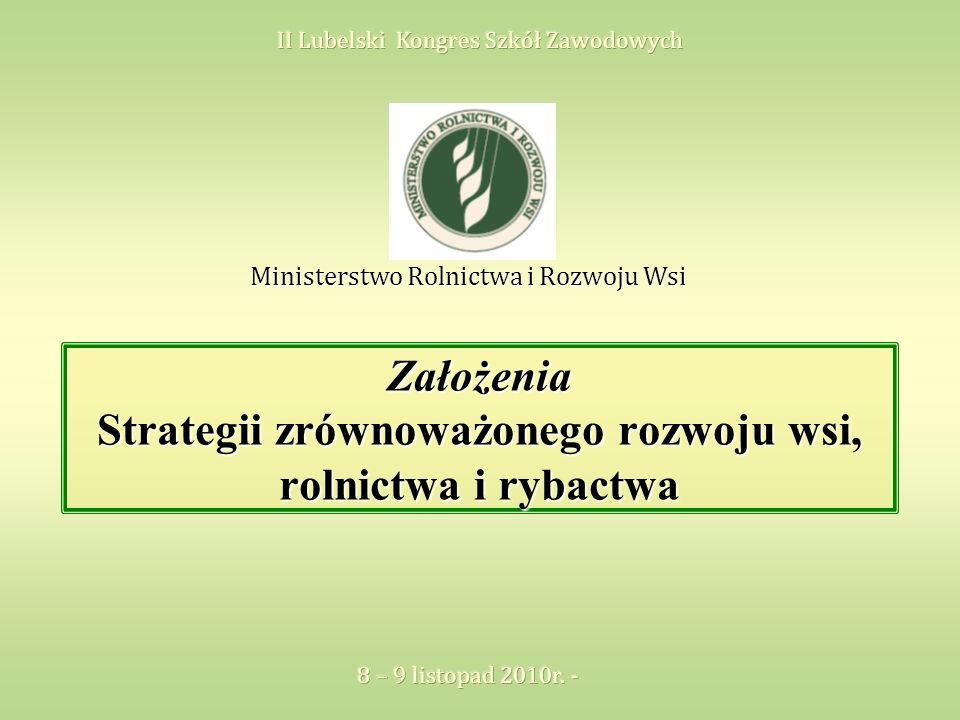 Założenia Strategii zrównoważonego rozwoju wsi, rolnictwa i rybactwa Ministerstwo Rolnictwa i Rozwoju Wsi
