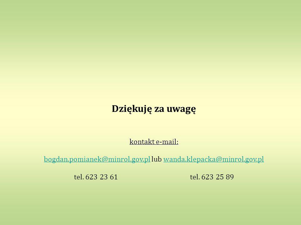 Dziękuję za uwagę kontakt e-mail: bogdan.pomianek@minrol.gov.plbogdan.pomianek@minrol.gov.pl lub wanda.klepacka@minrol.gov.plwanda.klepacka@minrol.gov