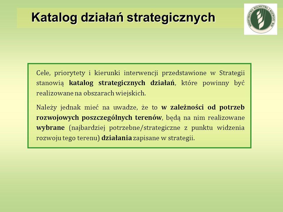 Katalog działań strategicznych Cele, priorytety i kierunki interwencji przedstawione w Strategii stanowią katalog strategicznych działań, które powinn