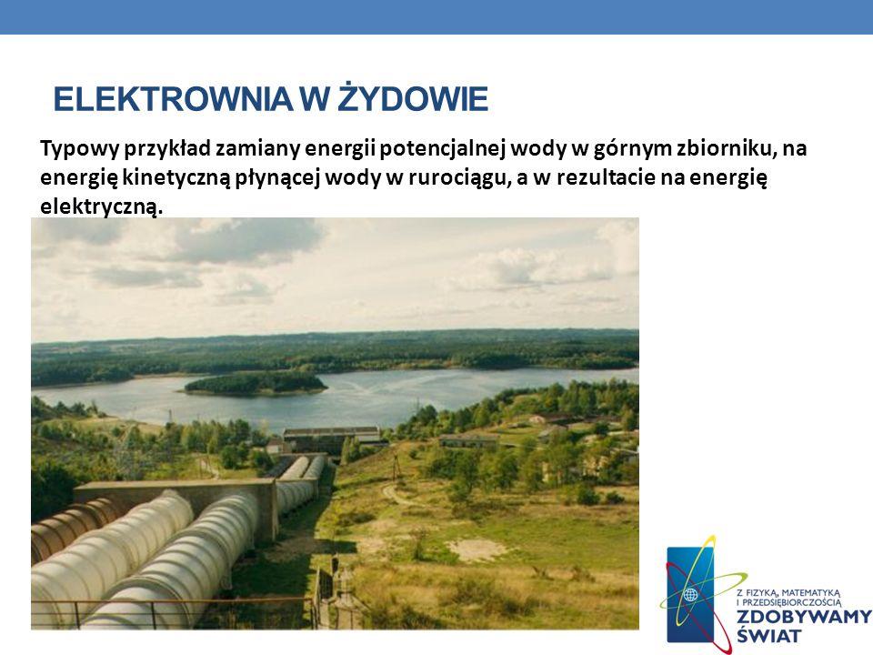 ELEKTROWNIA W ŻYDOWIE Typowy przykład zamiany energii potencjalnej wody w górnym zbiorniku, na energię kinetyczną płynącej wody w rurociągu, a w rezul