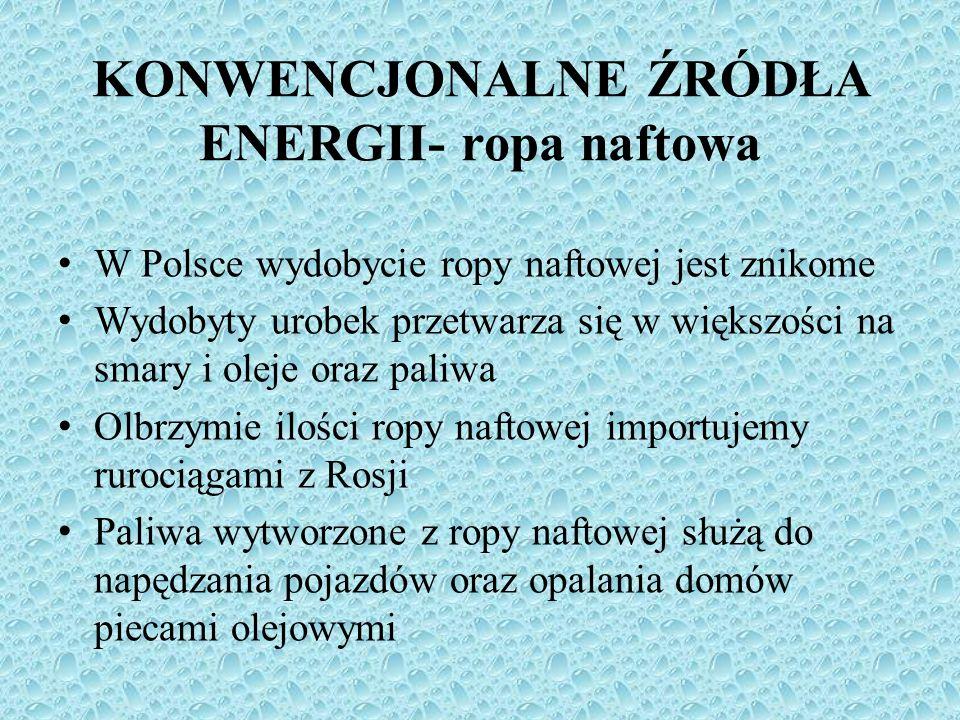 W Polsce wydobycie ropy naftowej jest znikome Wydobyty urobek przetwarza się w większości na smary i oleje oraz paliwa Olbrzymie ilości ropy naftowej