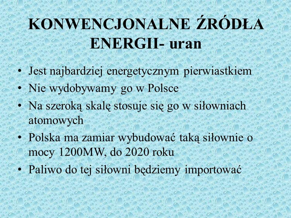 Jest najbardziej energetycznym pierwiastkiem Nie wydobywamy go w Polsce Na szeroką skalę stosuje się go w siłowniach atomowych Polska ma zamiar wybudo