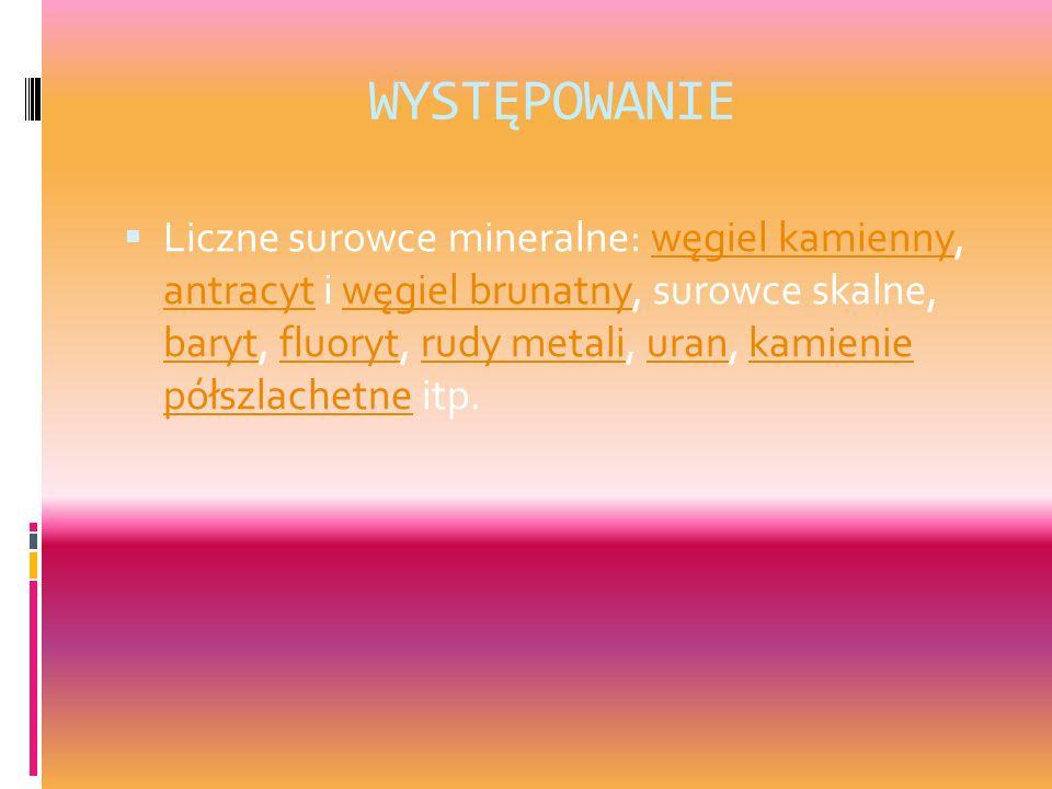 WYSTĘPOWANIE Liczne surowce mineralne: węgiel kamienny, antracyt i węgiel brunatny, surowce skalne, baryt, fluoryt, rudy metali, uran, kamienie półszl