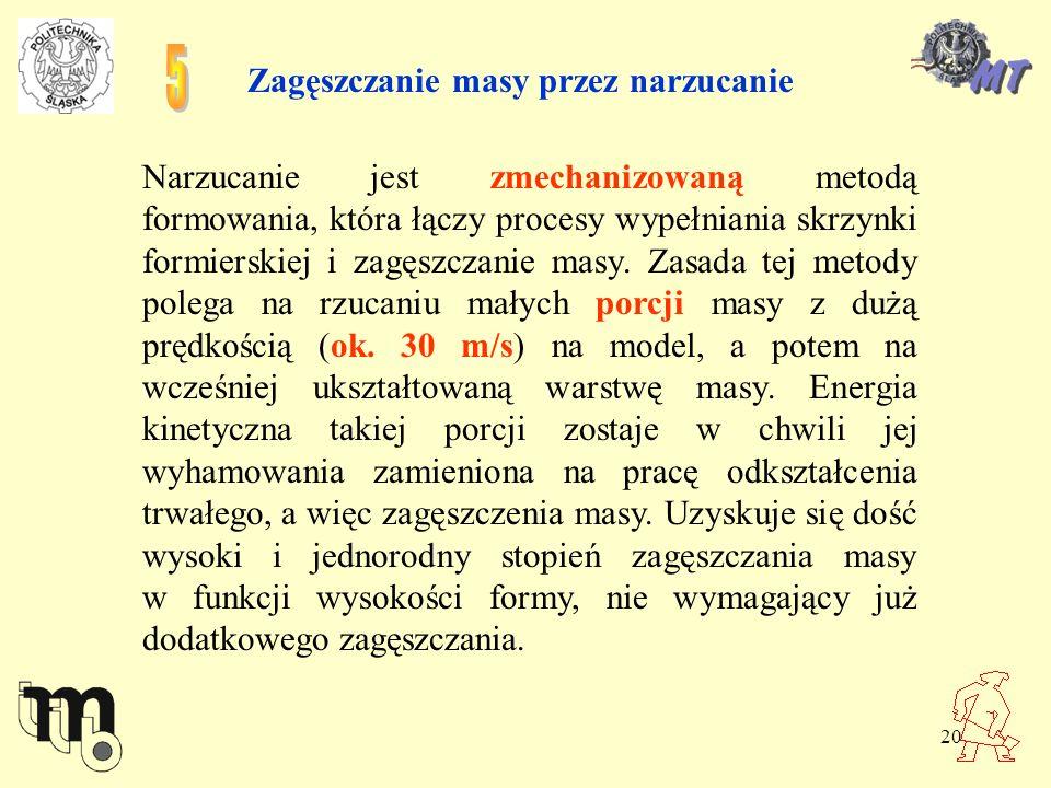 20 Zagęszczanie masy przez narzucanie Narzucanie jest zmechanizowaną metodą formowania, która łączy procesy wypełniania skrzynki formierskiej i zagęsz