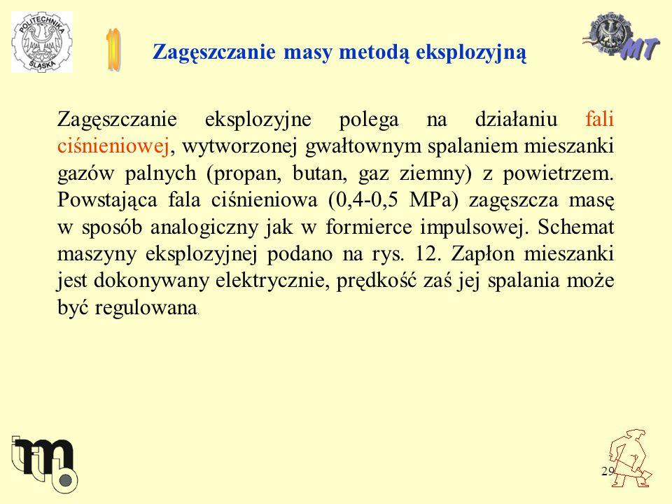 29 Zagęszczanie masy metodą eksplozyjną Zagęszczanie eksplozyjne polega na działaniu fali ciśnieniowej, wytworzonej gwałtownym spalaniem mieszanki gaz