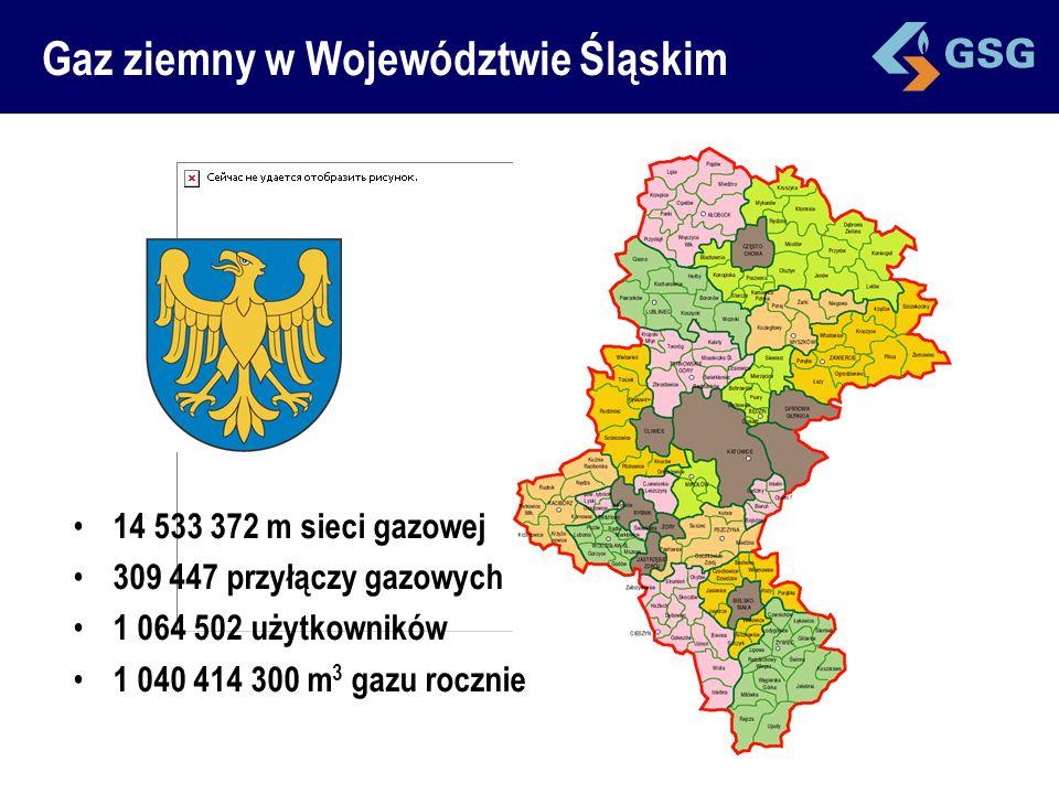 14 533 372 m sieci gazowej 309 447 przyłączy gazowych 1 064 502 użytkowników 1 040 414 300 m 3 gazu rocznie
