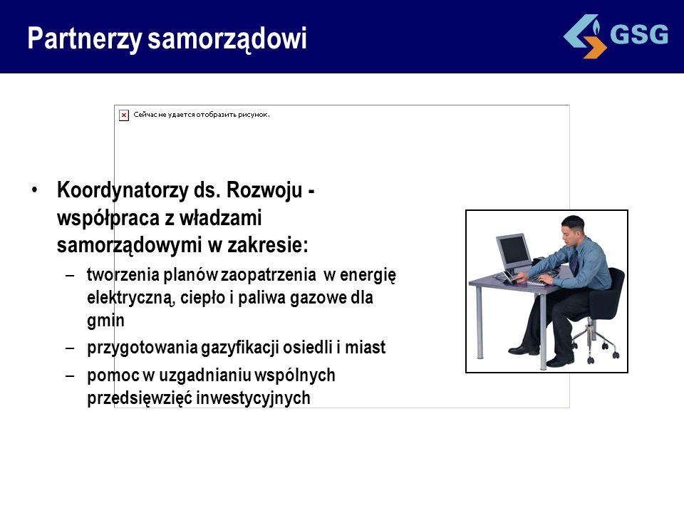 Partnerzy samorządowi Koordynatorzy ds. Rozwoju - współpraca z władzami samorządowymi w zakresie: – tworzenia planów zaopatrzenia w energię elektryczn