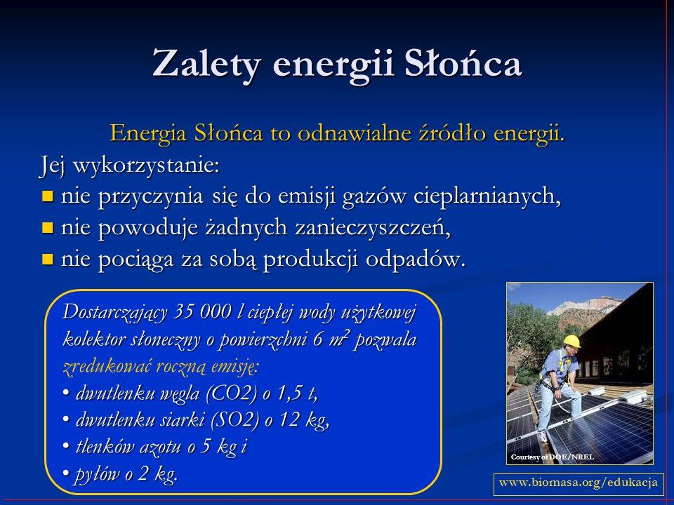 Zalety energii Słońca Energia Słońca to odnawialne źródło energii. Jej wykorzystanie: nie przyczynia się do emisji gazów cieplarnianych, nie przyczyni