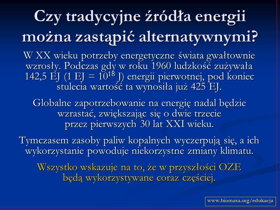 Czy tradycyjne źródła energii można zastąpić alternatywnymi? W XX wieku potrzeby energetyczne świata gwałtownie wzrosły. Podczas gdy w roku 1960 ludzk