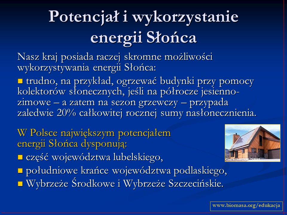 Potencjał i wykorzystanie energii Słońca Nasz kraj posiada raczej skromne możliwości wykorzystywania energii Słońca: trudno, na przykład, ogrzewać bud